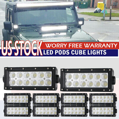 10X 7Inch Flood Led Work Light Bar Offroad Lamp For Boat Atv Suv Truck Gmc