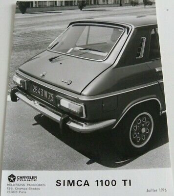 1 photo  / presse CHRYSLER FRANCE SIMCA 1100 TI de 07 / 1976