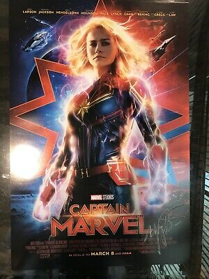 CAPTAIN MARVEL MOVIE 2x SIDED 11x27 BRIE LARSON POSTER SIGNED BY MARGARET STOHL