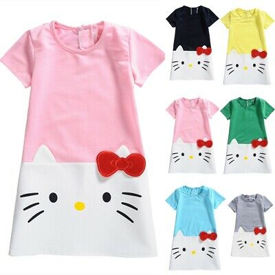 UK Fashion Kid Girls Cat Printing Short Sleeve Summer Casual Party Dress Age3-7Y
