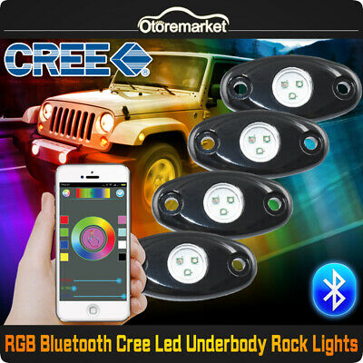 4pcs RGB LED Rock Light Pod Bluetooth Flashing Multi Color For Offroad Truck SUV