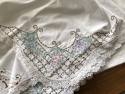 Vintage Embroidered Tablecloth. A Pretty One.
