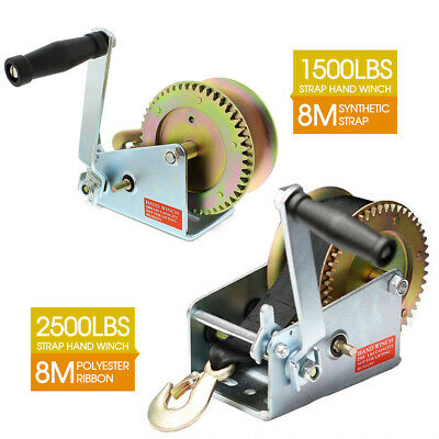 Hand Winch 1500lbs/2500LBS 2-Gears 8m Synthetic Cable Boat Trailer 4WD Winch