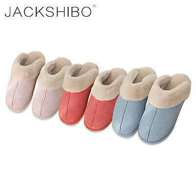 JACKSHIBO Womens Winter Slippers Home Indoor Scuffs Fur Lined Shoes Slip On