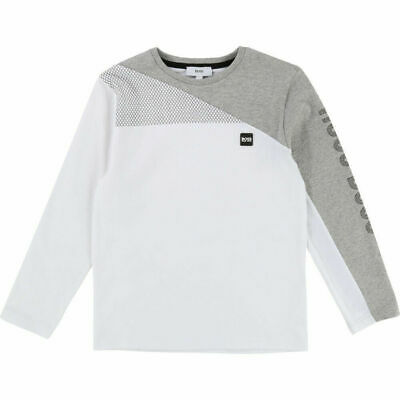 74b3f4204ed4 New Hugo BOSS Children Kids Boys White And Grey Long Sleeved Cotton T-Shirt