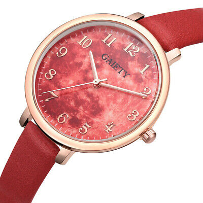 Women Quartz Watches Large Colored Stylish Dial with Thin PU Leather Strap Watch