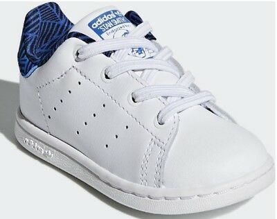 0f581c466b5e New Infant Baby Adidas Stan Smith Trainers White Blue Uk 4 Eur 20 Us 5 Rrp