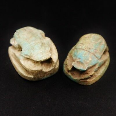 TWO Rare Antique Stone Scarab Beetle Amulet Figurine Ancient Egyptian