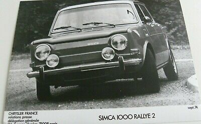 1 photo  / presse CHRYSLER FRANCE SIMCA 1000 RALLYE 2 de 09 / 1974