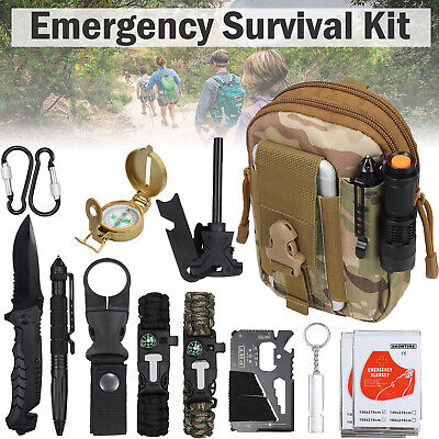 Upgraded Emergency Survival Kit Outdoor Tactical Hiking Camping Emergency Tool