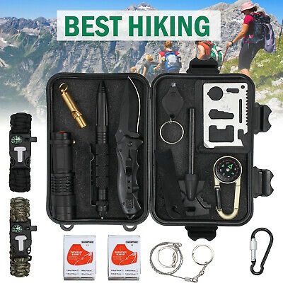 Emergency Survival Kit 17 in 1 Outdoor Survival Tool For Camping Hiking Climbing