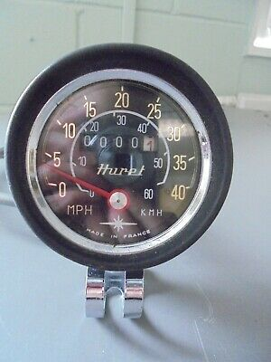 Vintage CLASSIC 1977 HURET CYCLE SPEEDOMETER WITH JUST 1 MILE - MPH AND KPH
