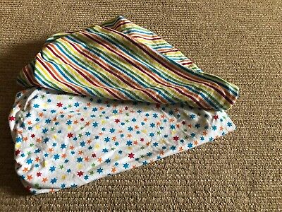 2x Moses Basket Fitted Sheets / Pram Sheets Unisex