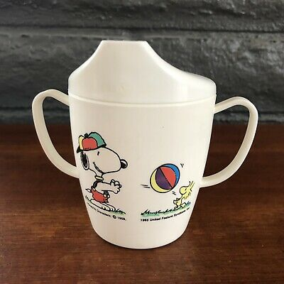 Vintage Snoopy Peanuts Sippee cup two handled baby toddler Woodstock tippee