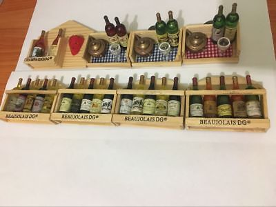Miniature Wine Bottles in crates with Magnets Great with Coles Little Shop 2