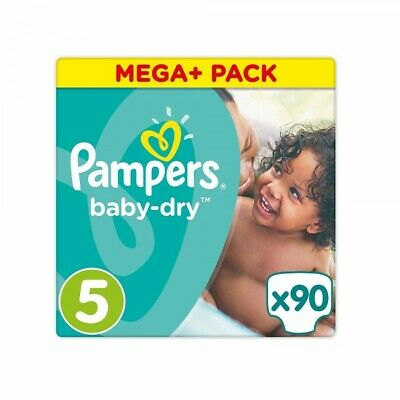 Pampers Baby-Dry Taille 5, 11-16 kg, 90 Couches - Mega Pack