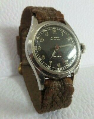 VINTAGE TIMOR Military mens watch Cal.7  RUNS