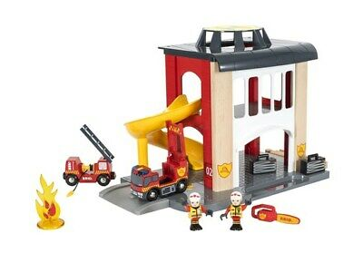 Brio Wooden Railway Trains Central Fire Station 12 Pieces Age 3+ 33833 Boxed New
