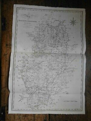 Original Large Nottinghamshire Map By Cary/stockdale C1805