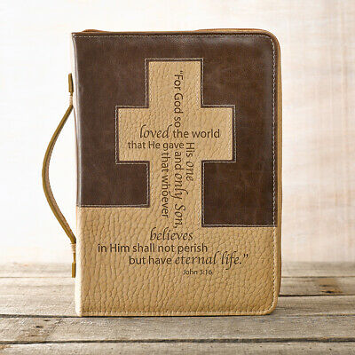 For God so loved the world in Brown and Tan John 3:16 Bible Cover, Size Large