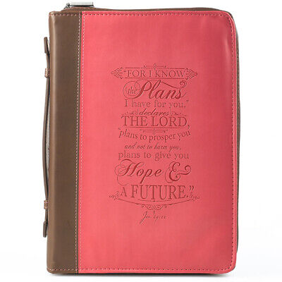 I know the plans in pink and brown Jeremiah 29:11 Bible Cover, Size Medium