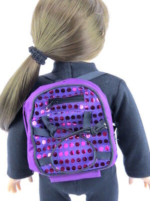 "Backpack Purple with Sequins Accessory made for 18"" American Girl Doll Clothes"