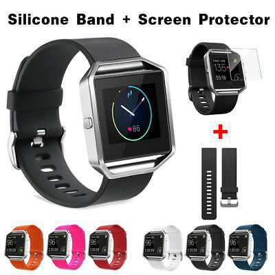 1* For Fitbit Blaze Replacement Classic Silicone Wristband Bracelet Band Strap L