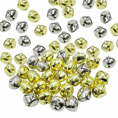8mm & 15mm Tiny Miniature Gold or Silver Jingle Bells Craft Charms 50 Pieces