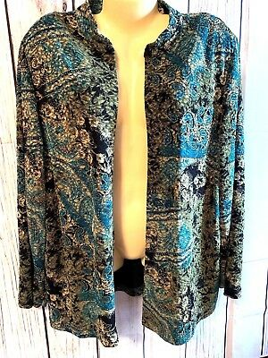 Women s Plus Size Blouse Top Shirt Cardigan 1X 18 20 N-Touch Teal Gold ecce98f00
