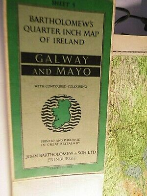 Galway And Mayo 1/4 Inch Ireland Map:bartholomre 1957: Best Topographical Colour