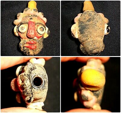 Ancient Phoenician Mosaic Glass Bearded Male Old Face Pendant Bead 500 BC 649
