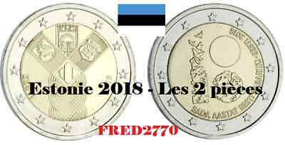 LES 2 PIECES DE 2€ COMMEMORATIVES ESTONIE 2018 - QUALITE UNC - Lettre suivie