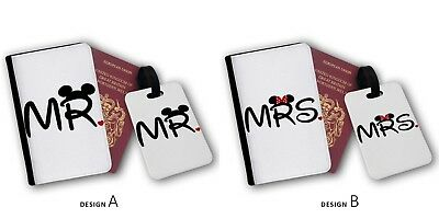 Mr Mrs Disney Mickey Minnie Disney Couples Travel Passport Cover & Luggage Tags