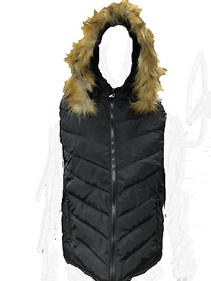 New Womens Ladies Bodywarmer with Faux Fur Detachable Hood