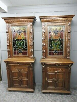 Pair Of Antique Oak Victorian  Bookcases With Stained Glass Doors