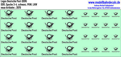 TT Logos deutsche Post (DDR), Epoche 3-4, schwarz, Kreye Decals, 120-3970