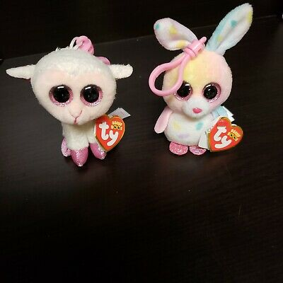 cd0cba29edf TY BEANIE BOO EASTER KEY CLIPS BUBBY THE BUNNY TWINKLE THE LAMB 3 INCH each