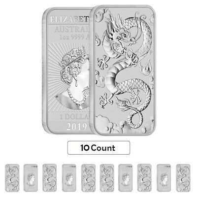 Lot of 10 - 2019 1 oz Silver Australian Dragon Coin Bar $1 BU
