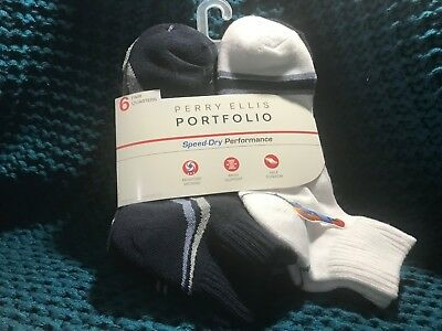9825bfcf8b Perry Ellis Portfolio Men s 6 - Pair Quarter Crew Socks Assorted Speed Dry