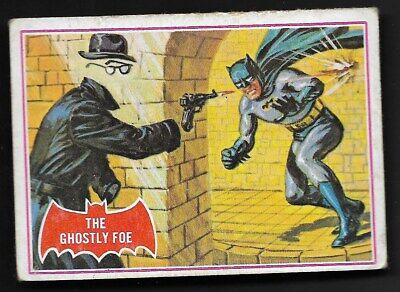"1966 Topps Batman Red Bat Puzzle Back Card # 1A, ""the Ghostly Foe"""
