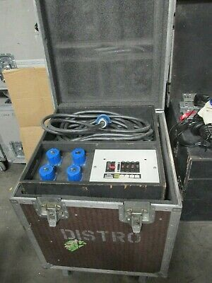 Cased Single phase Distro / power distribution 32 amp to 16 amp cee form x 4