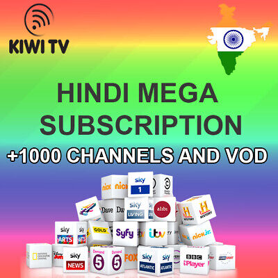 India Mega 1 Year Subscription +1000 Hindi Ch/vod & +10000 Ch/vod World Iptv !