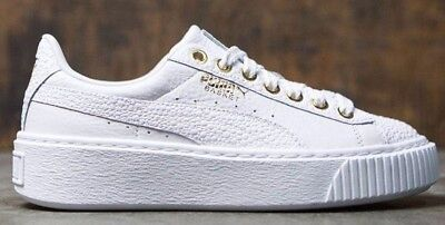 cd7d8972354 Womens Puma Basket Platform Pearlized White Gold Rihanna Creeper Fashion  Shoes