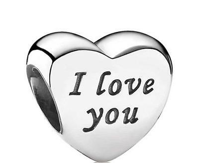 I LOVE YOU Heart Charm for Bracelet Genuine Solid 925 Sterling Silver Bead S925
