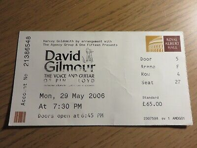David Bowie - David Gilmour - Bowie's Last EVER UK GIG Ticket - Albert Hall 2006