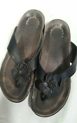 51e9e129b4 MEPHISTO Floral Design Leather Slide Sandals Flip Flops Thong Size Womens 10