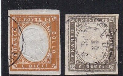 Italy, Sardinia, 1855./63. two used stamps, see scans.