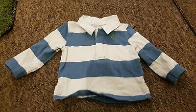 Little White Company blue white striped rugby shirt age 0-3 months