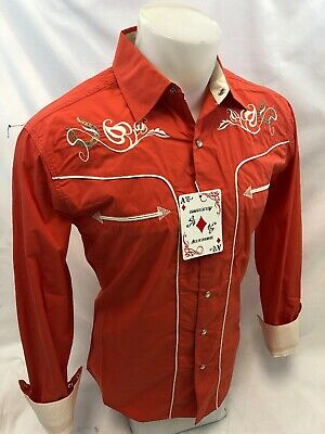Mens RODEO WESTERN COUNTRY WHITE Long Sleeve Woven SNAP UP Shirt Cowboy 06685