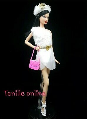 New Barbie clothes complete outfit white gold  fashion boots dress handbag